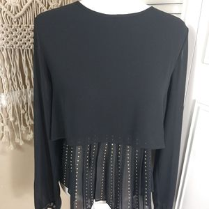 New Philosophy black sheer pleated studded blouse